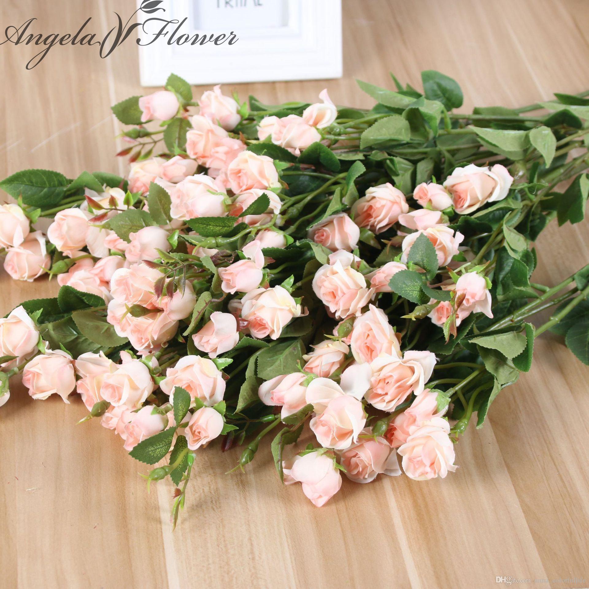 8 Pcs Bouquet 71 5cm Silk Small Rose Bud Diy Wedding Home Desk Garden Bedroom Decor Artificial Flower Rose Fake Flores Rose