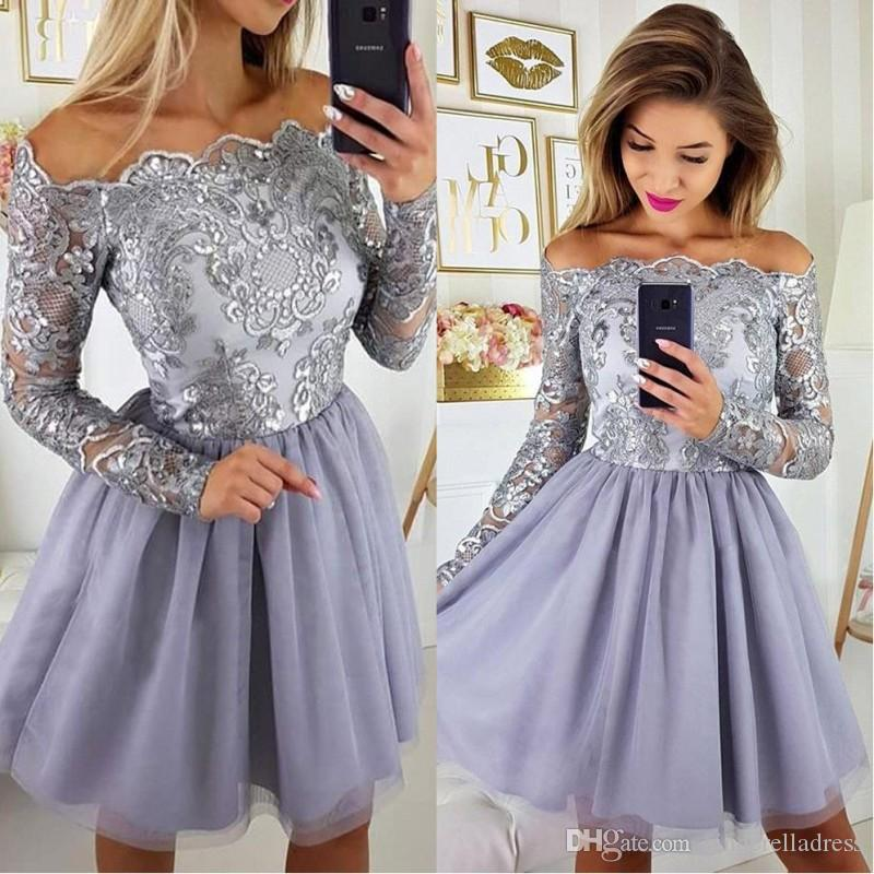 2019 Newest Long Sleeves Lilac Lavender Short Homecoming Dresses Appliques Chiffon Skirt Knee Length Prom Cocktail Gowns For Teens BA9972