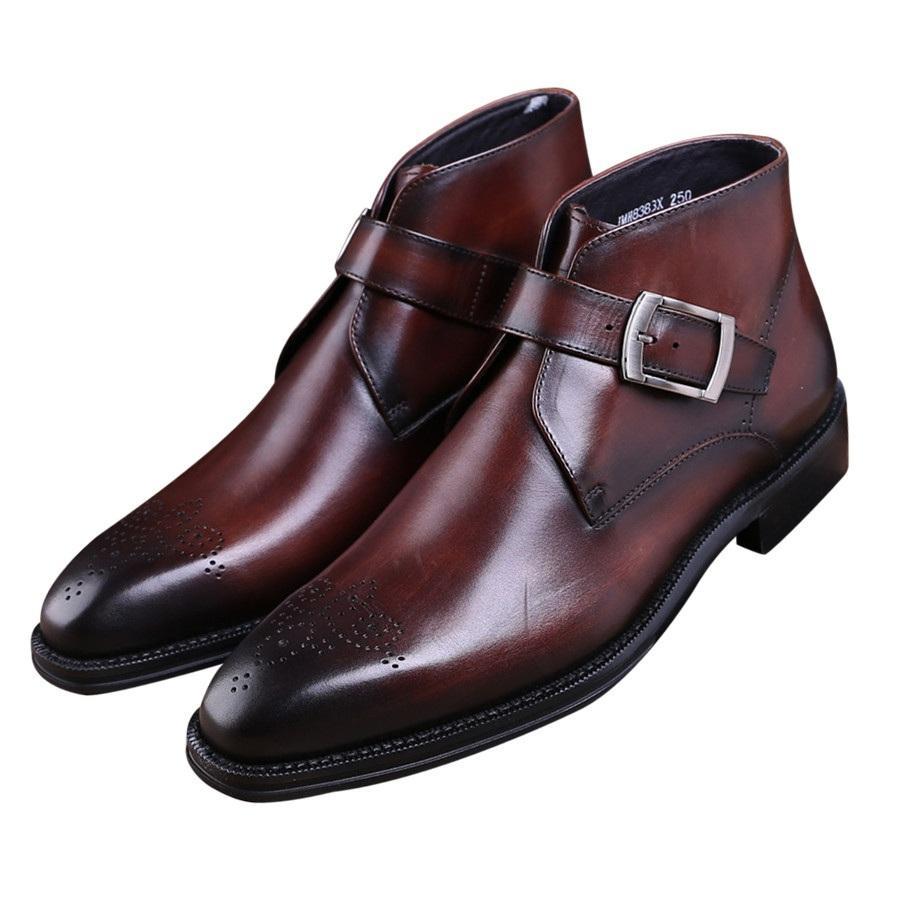 a54aebe9a4e Compre Moda Goodyear Welt Zapatos Marrón Bronceado   Negro Botines Para  Hombre Vestido De Cuero Genuino Botas Para Hombres Zapatos De Vestir Con  Hebilla A ...