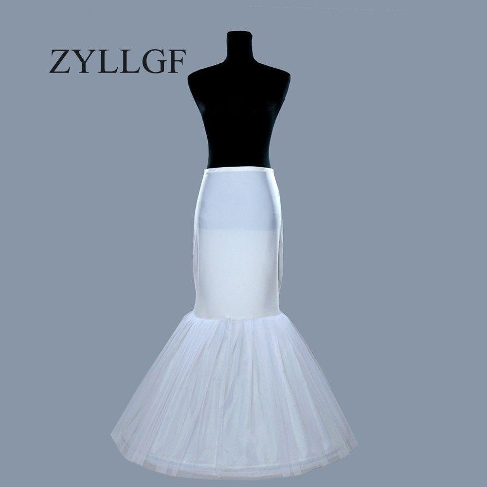 ZYLLGF 2018 Cheap One Hoop Petticoat Underskirt Crinoline for Mermaid Wedding Dresses Flounced Mermaid Petticoat Slip Bridal Accessories