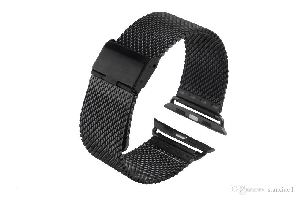 Milanese Loop for Apple Watch Series 4 3 Band Stainless Steel Strap Magnetic adjustable buckle with adapter for iwatch 40/44mm 38/42mm