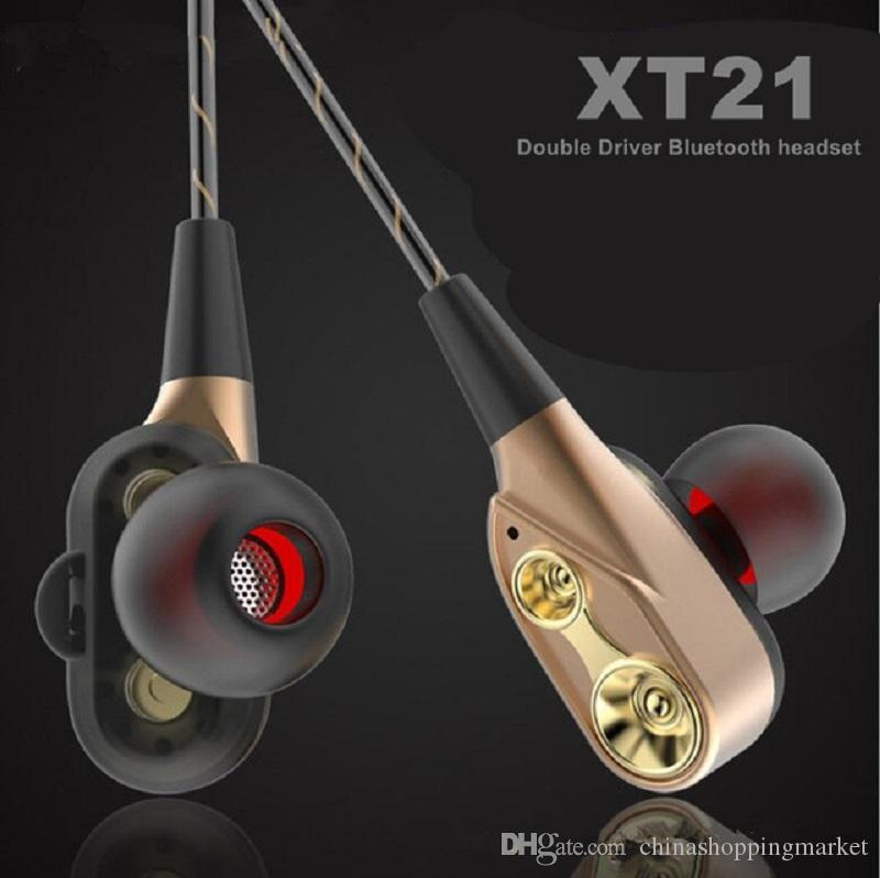 XT-21 Wireless Bluetooth Earphone Double Speaker Safe Driver Earbuds Headset HIFI Stereo BT4.2 DJ Music Headphone For iPhone Xs Max Samsung