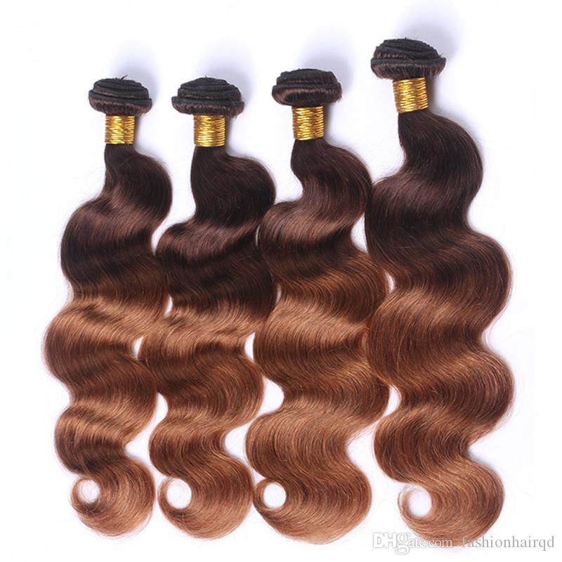 4 Bundles Ombre Peruvian Body Wave Human Hair Weaves T4/30 Two Tone Virgin Remy Human Hair Extensions Double Weft 12-26 inch