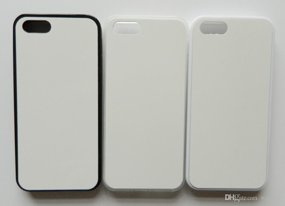 Custodia in gomma TPU 2d custodia in sublimazione SE iPhone 5s + placca in metallo 100 pezzi / lotto