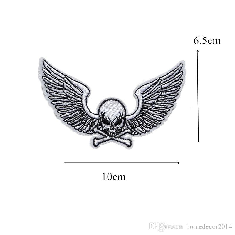 Skull Wings Punk Embroidered Patches Sewing Iron On Creative Badge For Bag Jeans Hat Appliques DIY Handwork Sticker Apparel Decoration