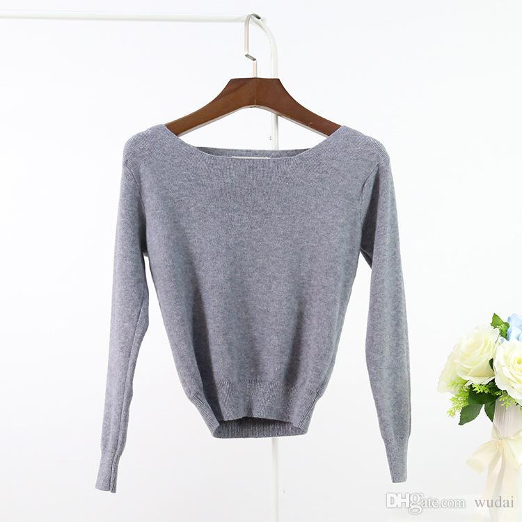 Wholesale- Spring Cashmere Short Knitted Tops Womens Long Sleeve ... af76315e8