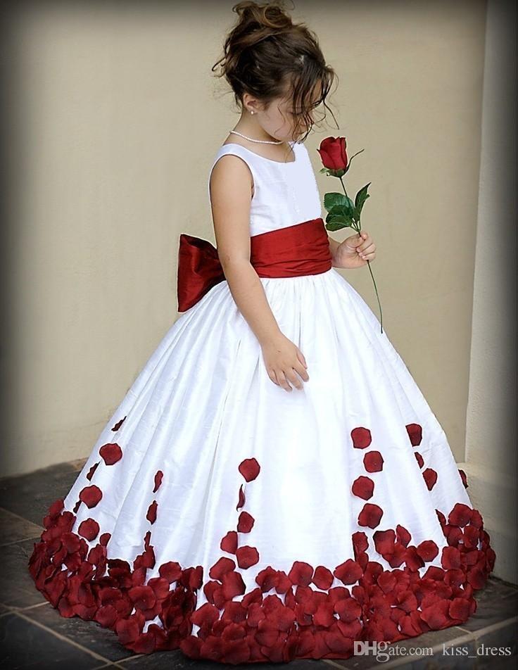 Beyaz ve Kırmızı Prenses Çiçek Kız Elbise Yeni Kat Uzunluk Eşleşti Bow Kanat Petal Tafta Balo Uzun Kız Parti Pageant Törenlerinde F70