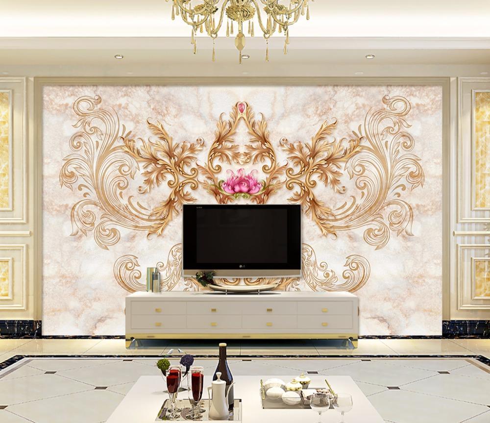 Bacaz Luxurious Gold Flower Texture Wallpaper Murals 3d Wall Photo