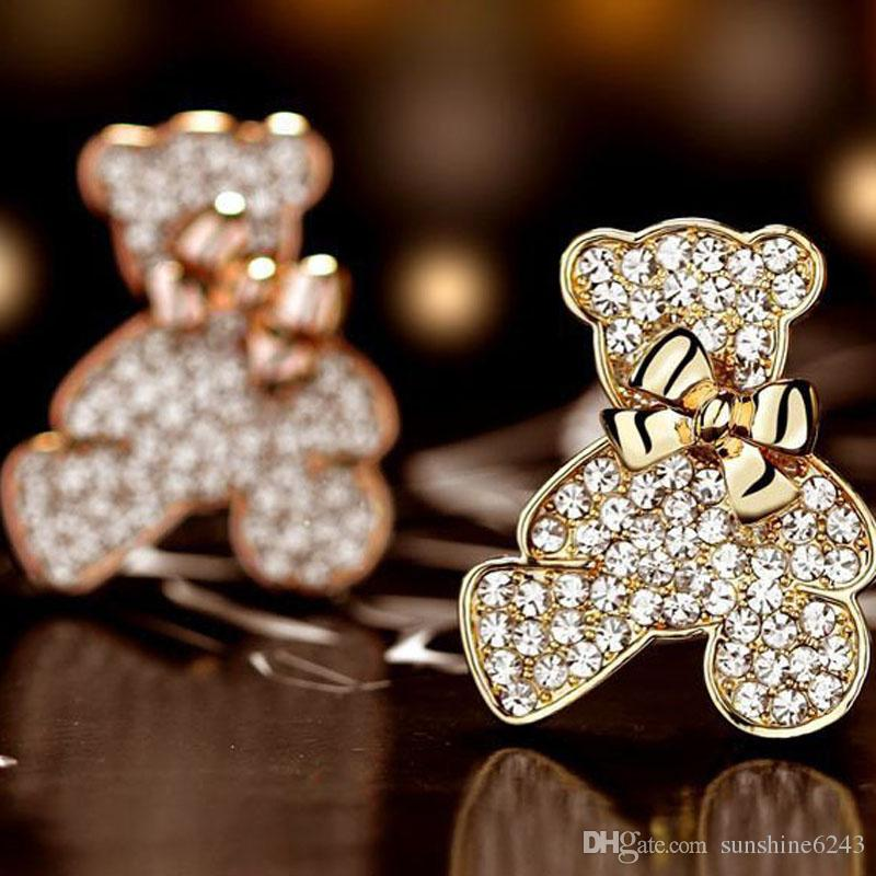 New clothing wholesale Korean genuine full rhinestone diamond bow bear brooch manufacturers special promotions