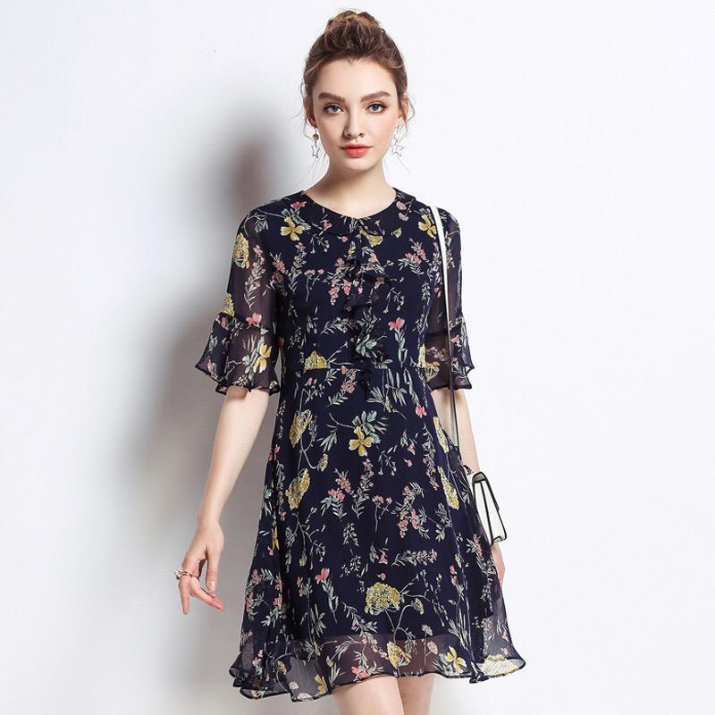 1b2caa133a60a 2019 2018 Plus Size Woman Chiffon Dress Elegant Maternity Clothes Casual  Pregnancy Dress Floral Ruffles Print O Neck M 5XL From Paradise02, $53.08    DHgate.