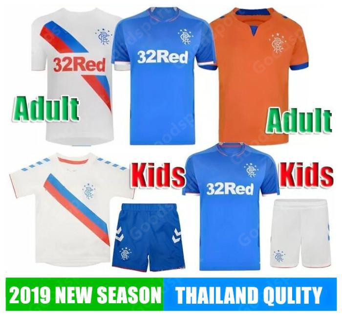 c3c7d4cf165 2019 2019 Rangers FC 2018 ADULTS KID KITS Glasgow Rangers Morelos Windass  EJARIA Football Shirts SHORTS Boys Soccer Sets YOUTH Children Sy From ...