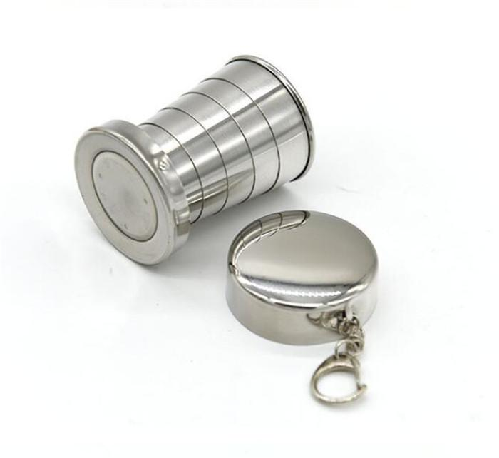 75ml Telescopic Cup Portable Stainless Steel Folding Drinking Wine Cup Mug for Outdoor Travel Picnic Key Chain Collapsible G205