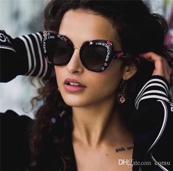 c116b125ba67f Compre Nova Moda Óculos De Sol Avant Garde Estilo De Design De Impressão  Especial Exagerada Óculos De Armação De Olho De Gato Qualidade Superior  Uv400 ...