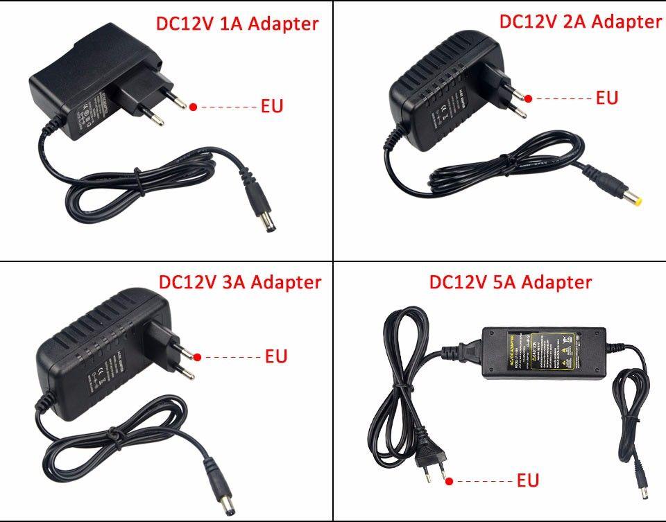 100V - 240V to 12V 1A 2A 3A lighting transformer Power Supply EU US adapter Converter Charger for 5050 3528 5630 LED Strip Light