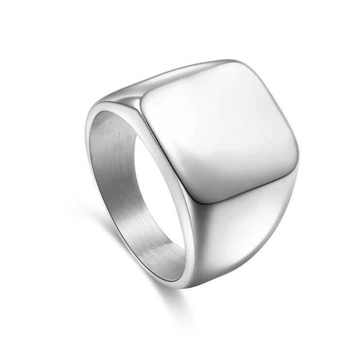 Men Stainless Steel Blank Plain Square Wedding Finger Ring Band Punk Jewelry Wide Aros Aros anello anillo bague anel