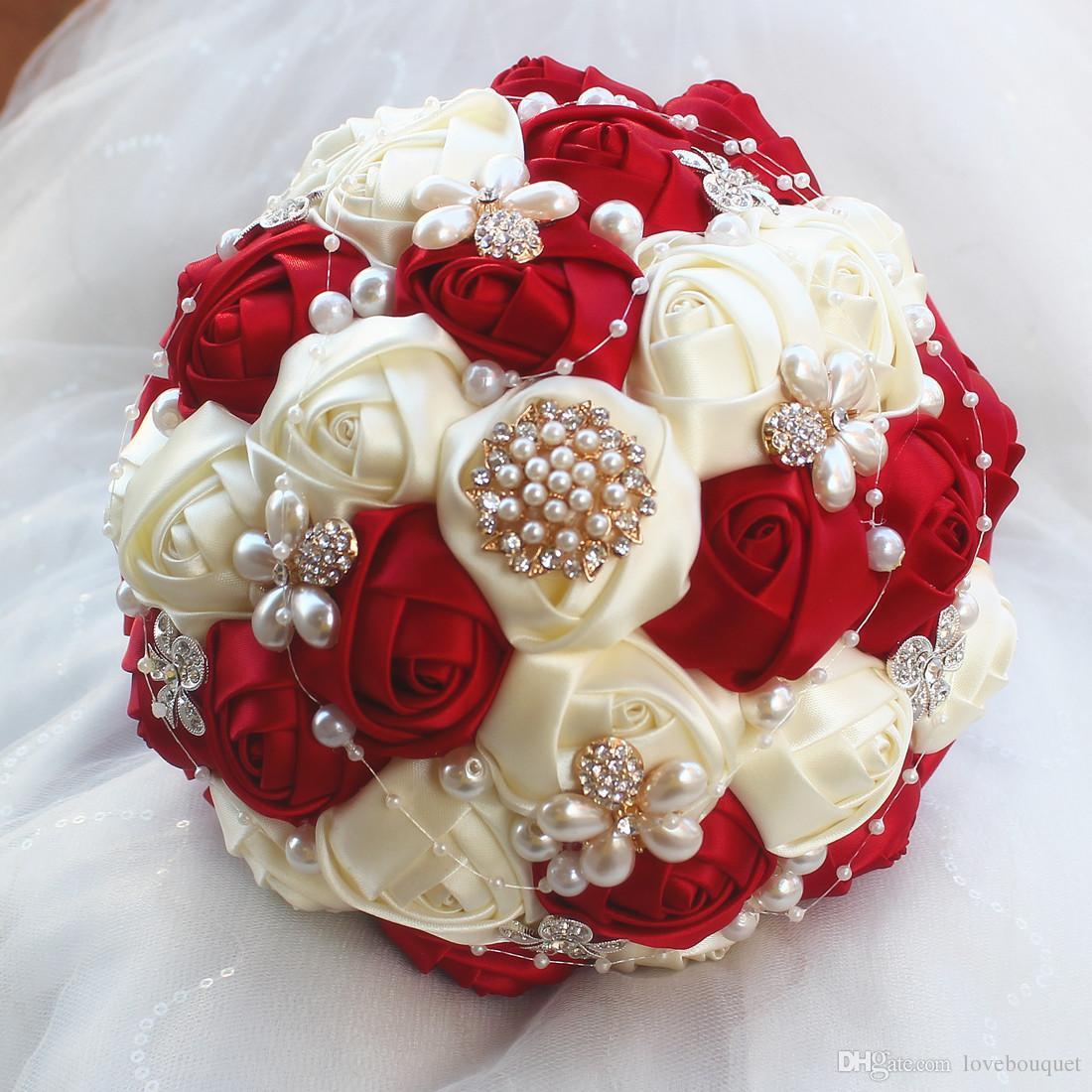 18 CM Dunkelrot Silk Rose Hochzeit Bouquet Strass Perle Brautstrauß White Ribbon Hochzeit Brautjungfer Bouquet