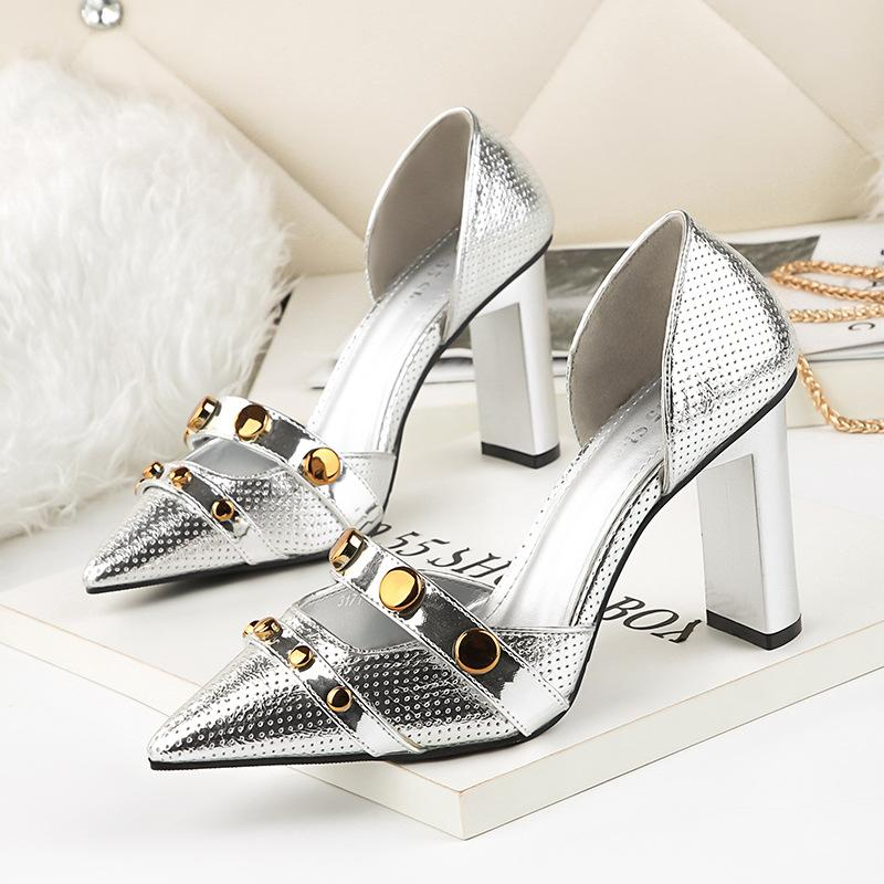 22f73c3dc578 Pointed Toe Rivet Sexy Silver Shoes Woman Summer 2018 Block Heel Pumps  Women Wedding Shoe High Heels For Prom Party Cheap Trainers Blue Shoes From  Baby911
