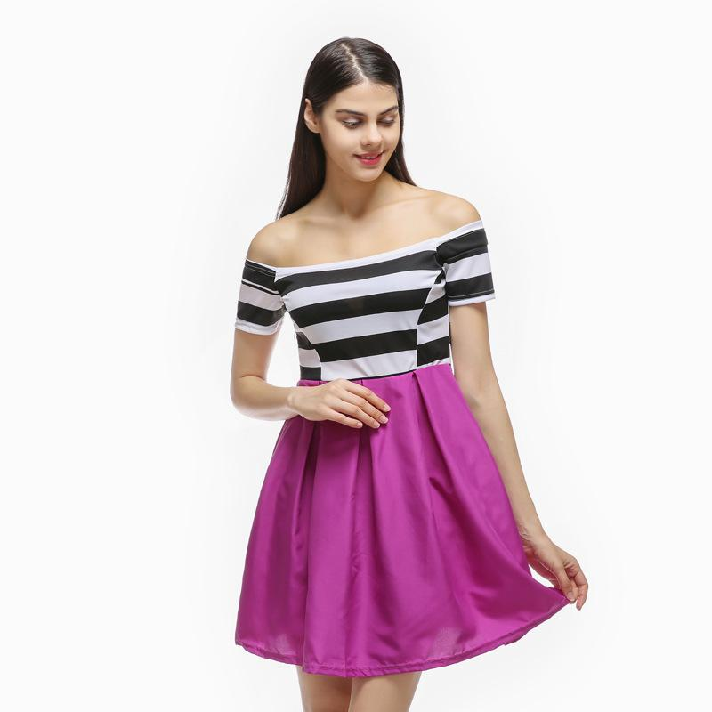 A black and white striped dress sexy shoulder strapless dress color stitching