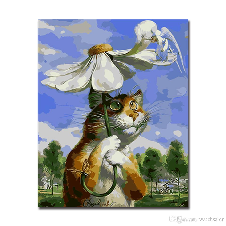 Digital Oil Painting By Numbers DIY Kits Drawing Giant Cat Carried The Flower Umbrella Pictures Home Decor Cartoon Wall Artwork