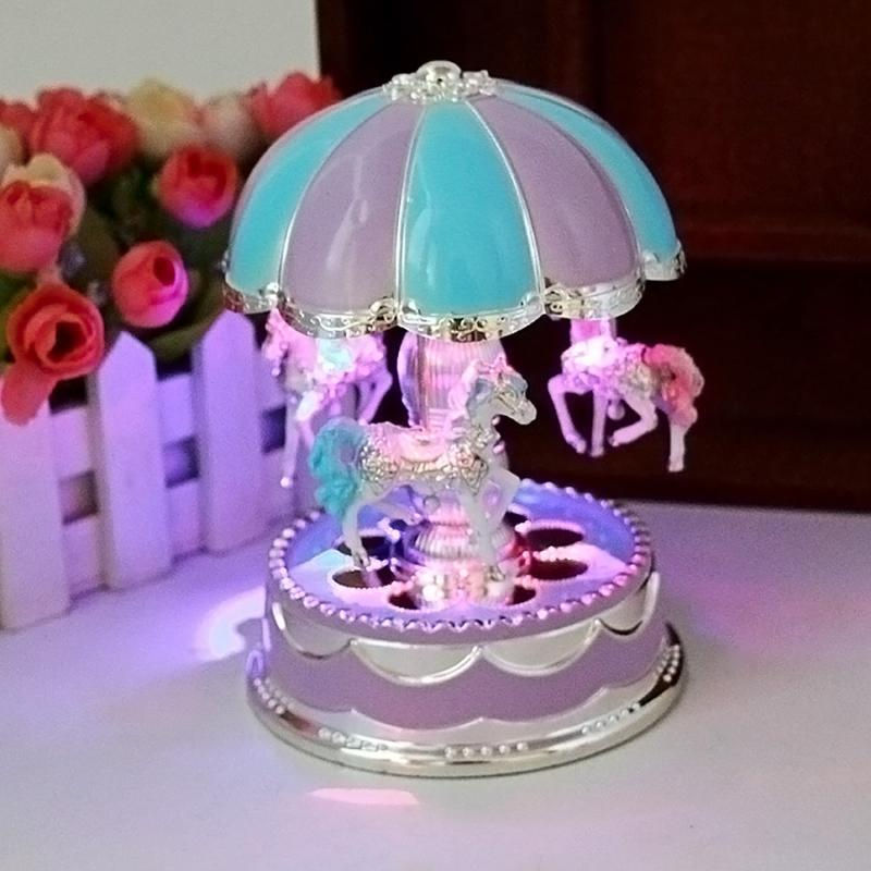 2019 LED Light Cartoon Merry Go Round Music Box Lamp Christmas Birthday Gift Toy Carousel Bedside Home Decoration Night From Burty