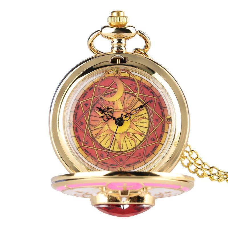 Unique Women Magic Rhinestone Sakura Quartz Pocket Watch Gold Necklace Pendant Chain Cosplay Gifts For Girls Student Women Kids Elegant Appearance Pocket & Fob Watches
