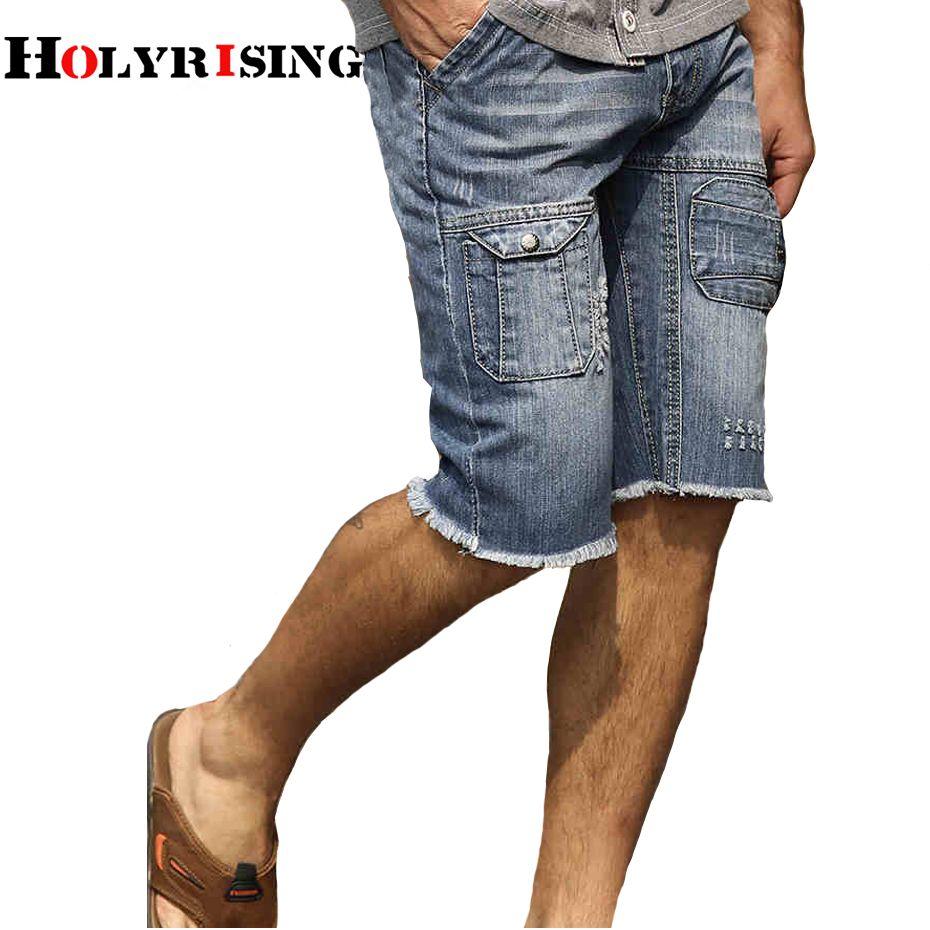 b3e05824d1e1 2019 Holyrising Mens Denim Shorts Slim Casual Knee Length Short Hole Jeans  Shorts For Men 2018 New Summer 100% Cotton Short 18414 5 From Balljoy, ...