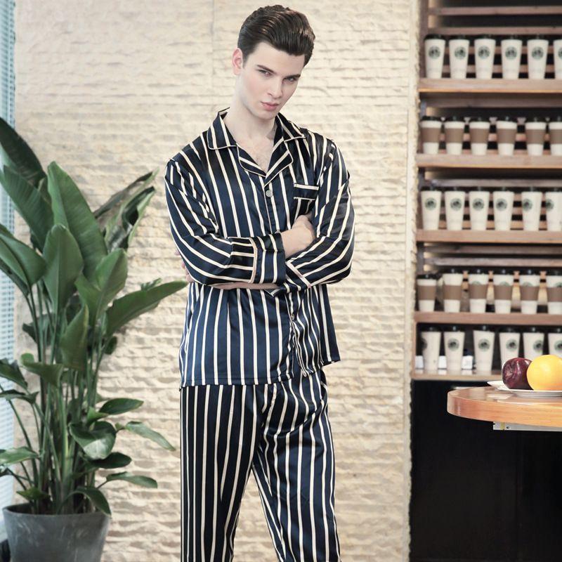 2019 SSH0142 Satin Silk Mens Pyjama 2018 Striped Sleepwear Nightwear Brand Pajama  Set Spring Autumn Full Sleeves Pant Pijama From Netecool 0ebbf2f8f