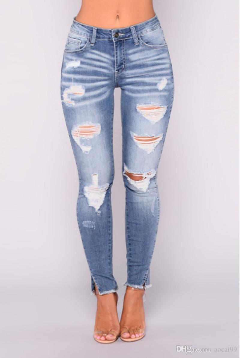 Compre 2018 Jansy Jeans Para Mujer Tallas Grandes Jeans Mujeres Agujero Ripped Jeans Femme Algodon Capris Straight Pants A 11 97 Del Aocai99 Dhgate Com
