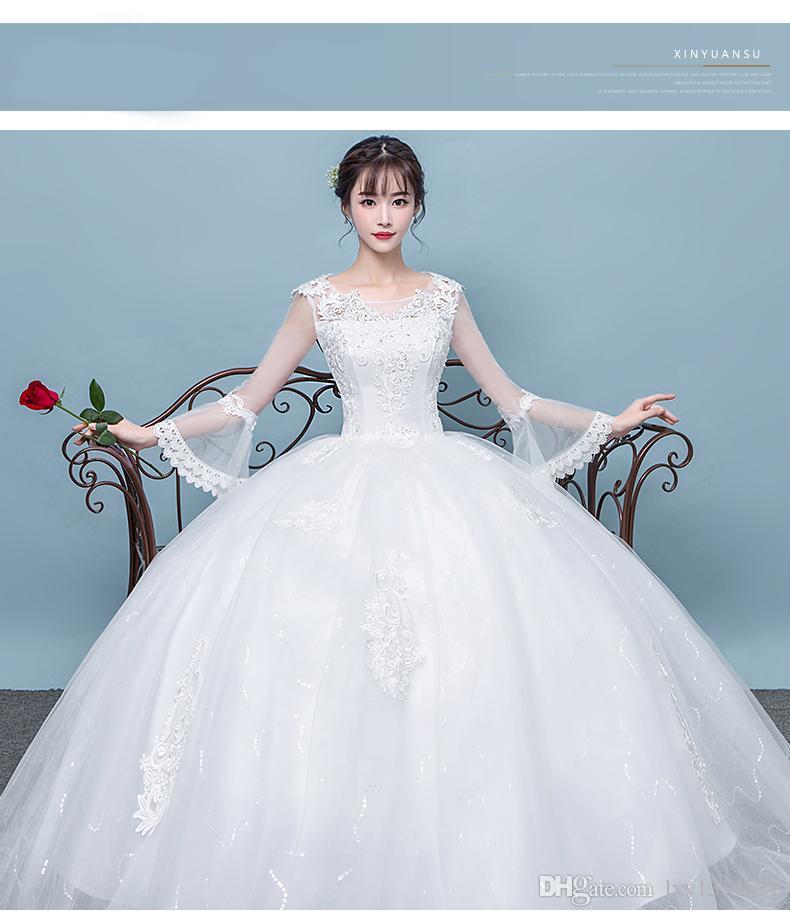 2018 New Wedding Dress, Shoulder Length, Han Style, Winter Big Code ...