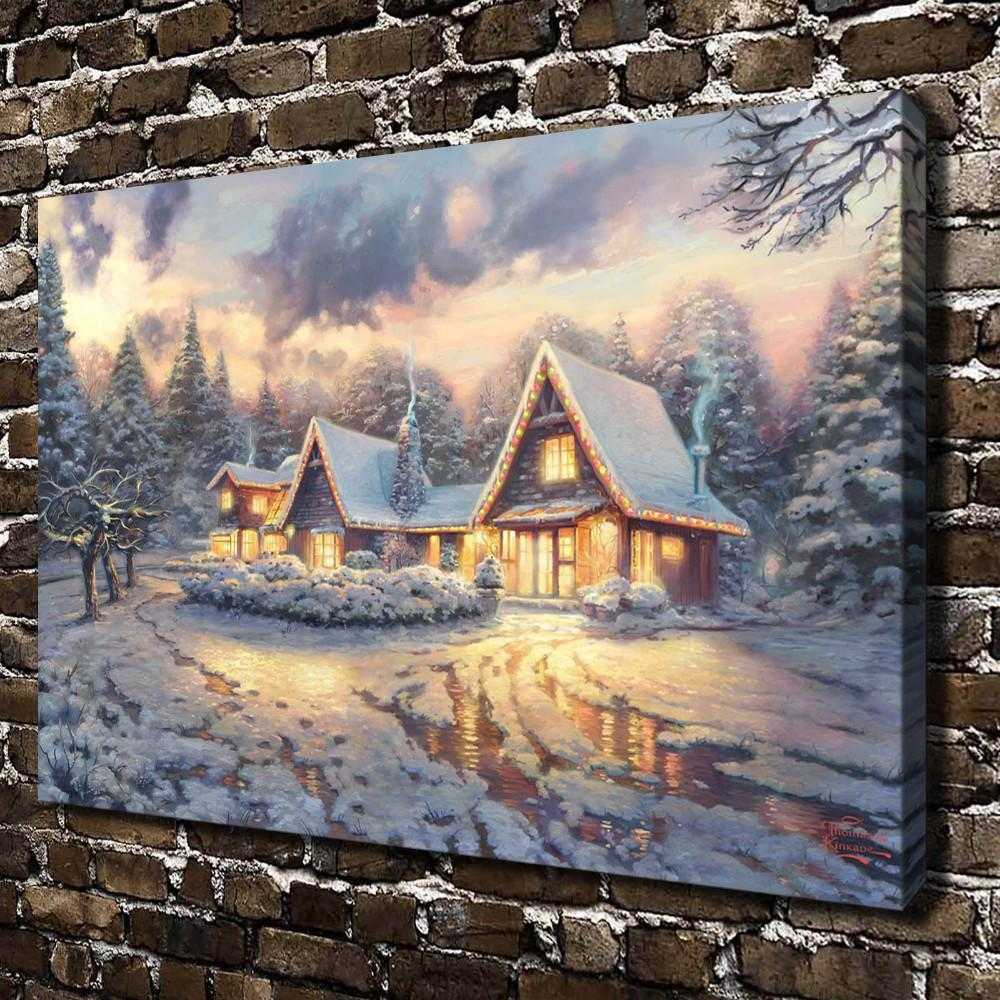Thomas Kinkade Christmas Lodge,Canvas Prints Wall Art Oil Painting Home Decor(Unframed/Framed)