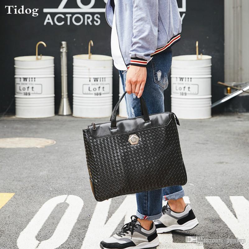 4346b5aed973 Tidog Korean Woven Men s Bags Business Casual Handbags Briefcases ...
