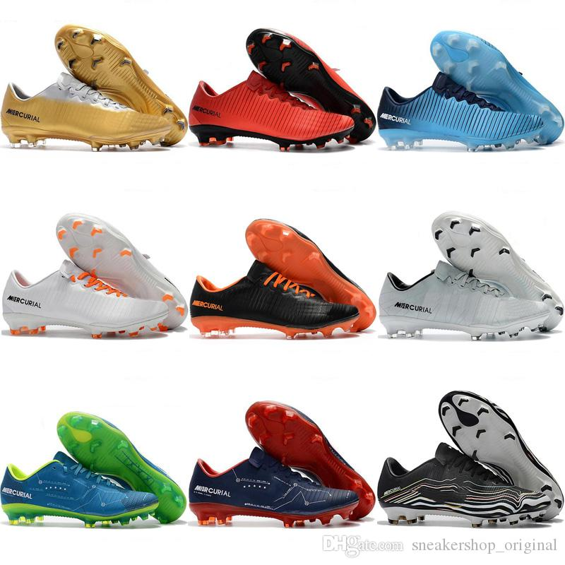 0695fada4ae4 2018 Cheap Football Boots Cr7 Low Mercurial Superfly Soccer Shoes Mercurial  Vapor XI FG Mens Soccer Cleats Neymar Boots Chuteira Cheap Red Leather Baby  ...