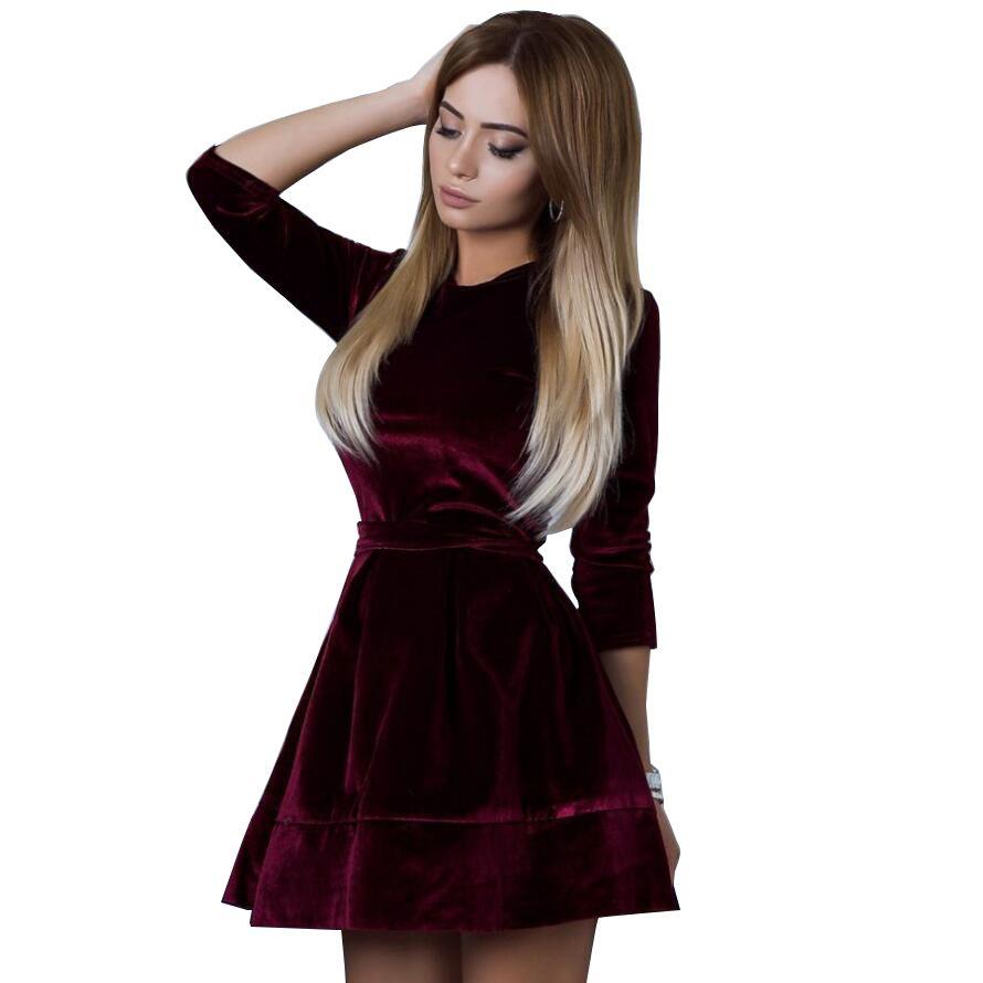 7d1b5a798c22 Women Retro Korean Velvet Dress 2019 Autumn And Winter Casual Three Quarter  Sleeve Pink Color Bottom Dresses Hot Sale Flower Summer Dresses Golden Party  ...