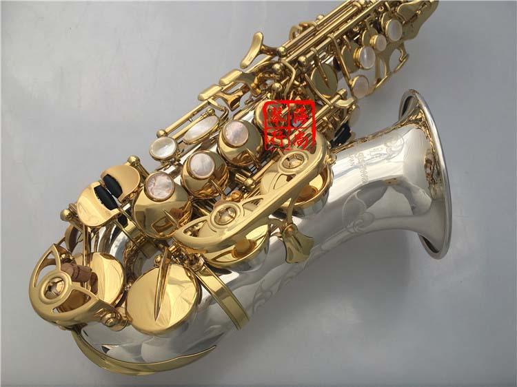 YANAGISAWA SC-9937 Pequeno Curvo Pescoço Soprano Saxofone B Plana de Alta Qualidade Latão Níquel Banhado A Prata Sax Com Bocal Caso