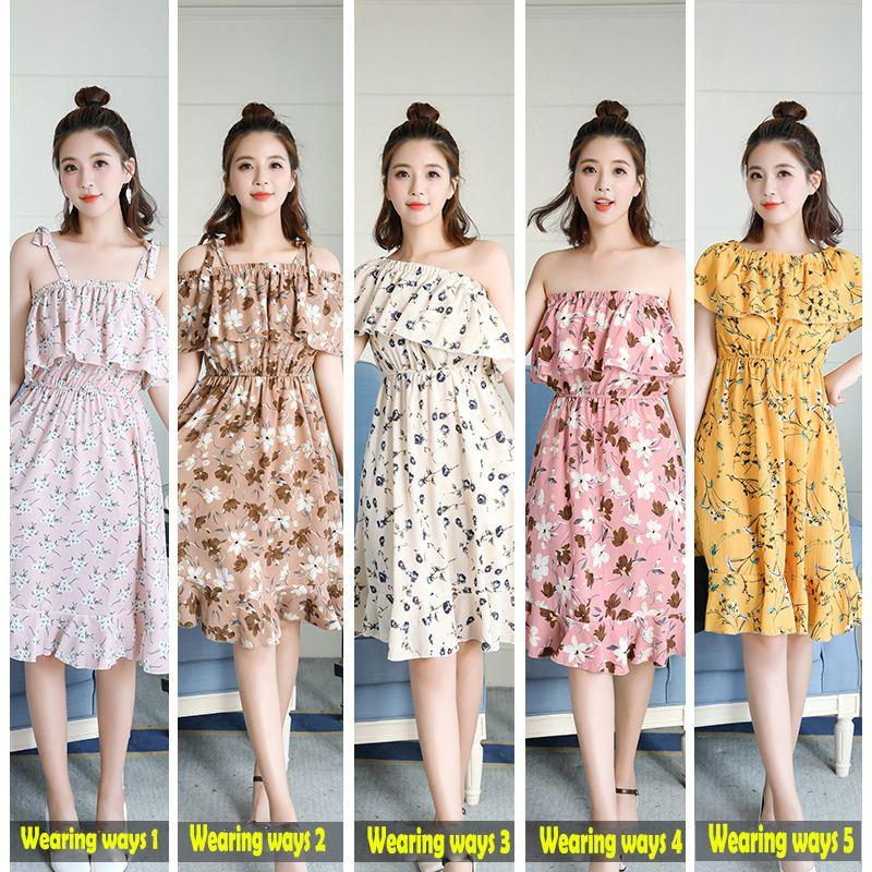 Summer Dresses Women Sleeveless Slash Neck Dresses Chiffon Camisole Floral Print Ruffles Casual soft Dresses