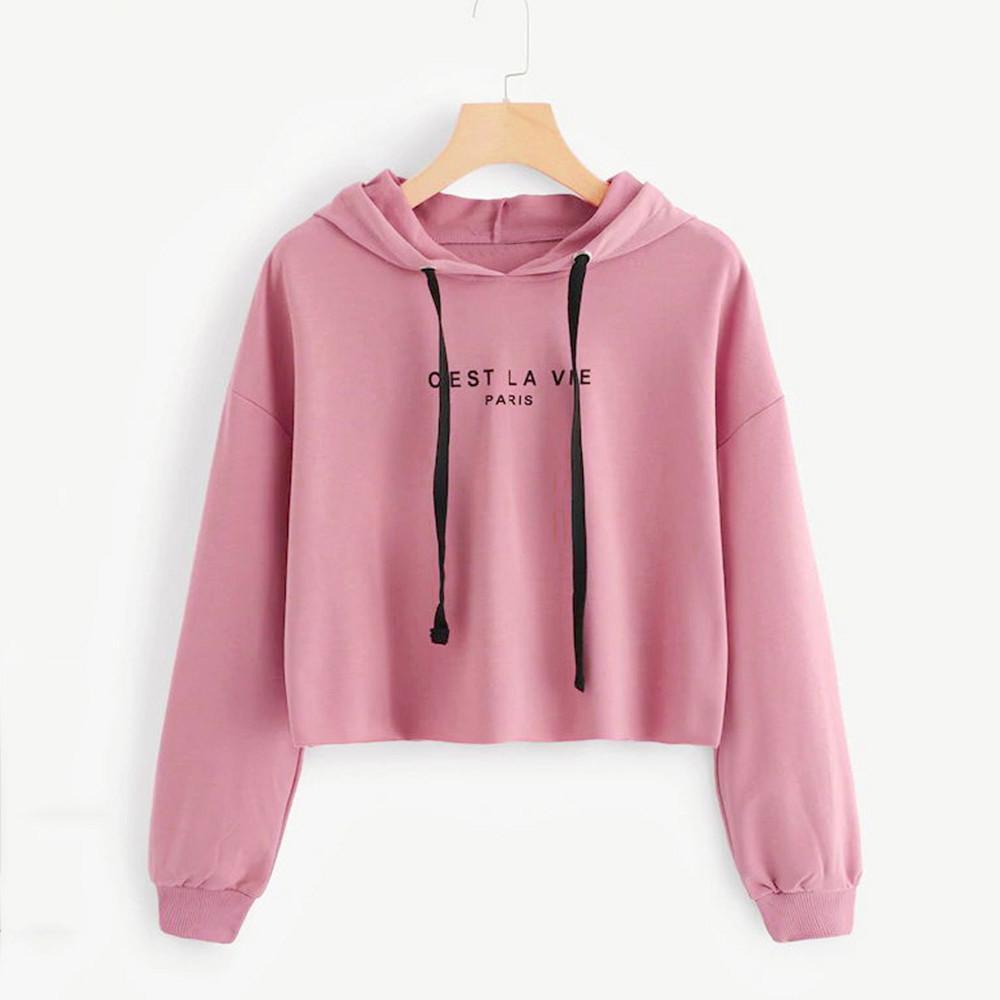 Hoody Sweatshirt Women Harajuku Streetwear Crop Top Hoodie 2018 Autumn Letter Kawaii Women Fashion Korean Kpop Clothes A Great Variety Of Goods Hoodies & Sweatshirts
