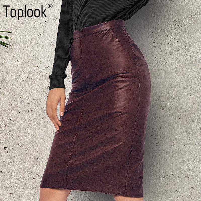 5676477265c4 2019 Toplook Vintage High Waist Women Leather Skirt 2017 New Solid Zipper Pencil  Skirt Casual Knee Length Womens Skirts Female From Burtom