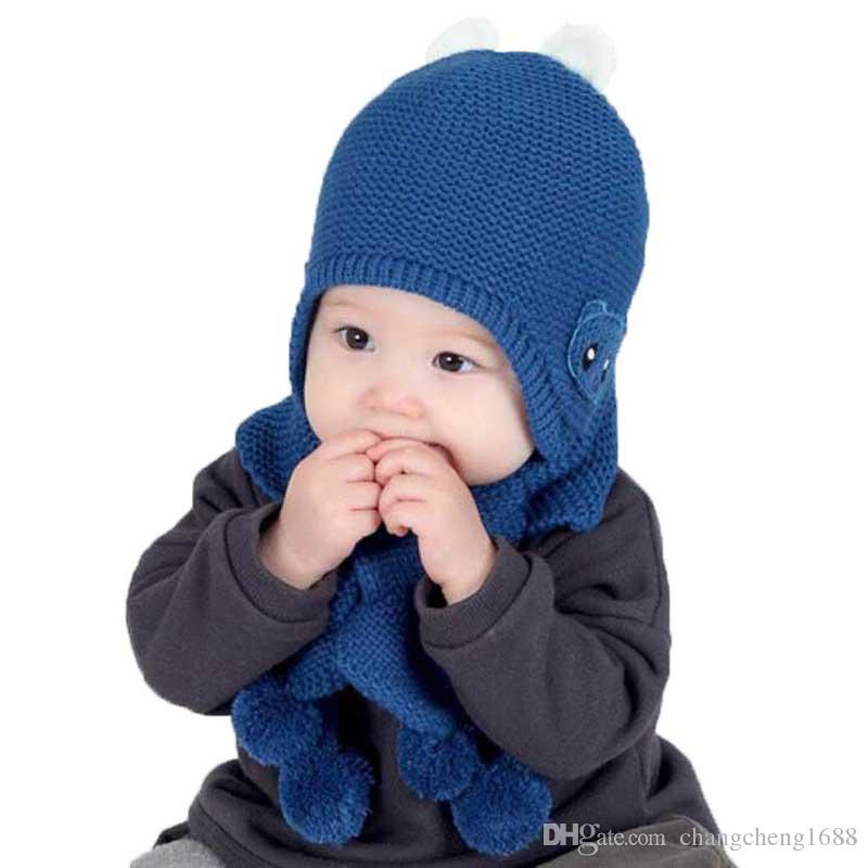 2019 Winter Baby Girl Hat And Scarf Set For Child Boy Kids Cartoon