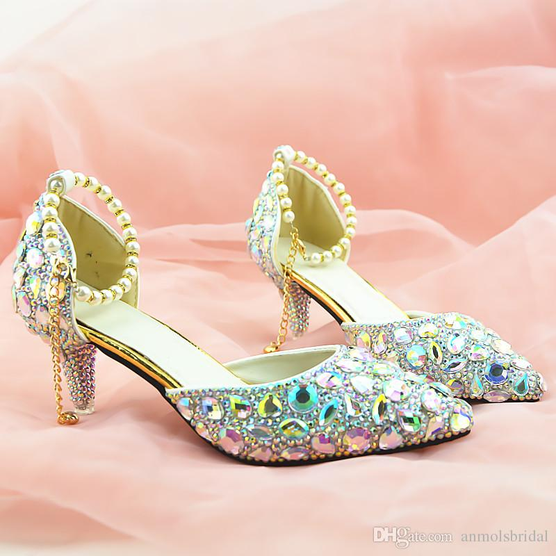 Silver Rhinestones Crystal Shiny High Heels Lady S Shoes Women Sandals  Bridal Evening Prom Party Club Bridesmaid Shoes With Pearl Straps 011  Beaded Bridal ... 080d230658
