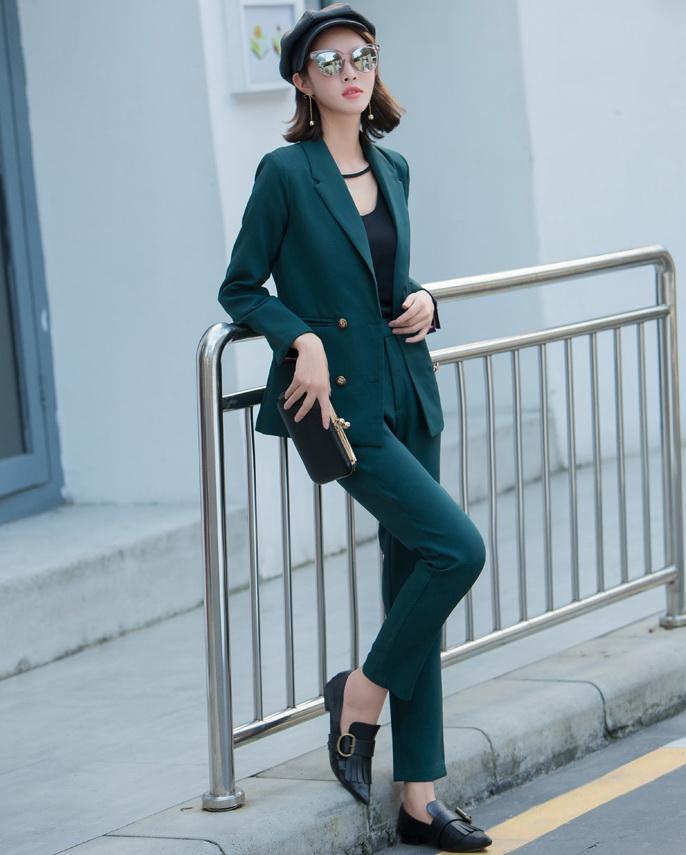 200119ae55b945 Großhandel Neue Frauen Anzug 2018 Mode Schlank Business Büro OL Dunkelgrün Jacke  Set Formale Blazer + Hosenanzug Feminino Weibliche L1629 Von Dayup, ...