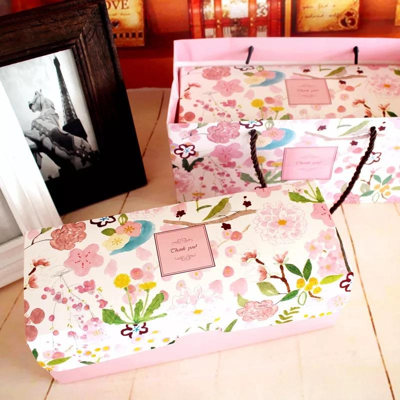 Big Size Spring Flower Roll Cake Paper Box Birthday Christmas