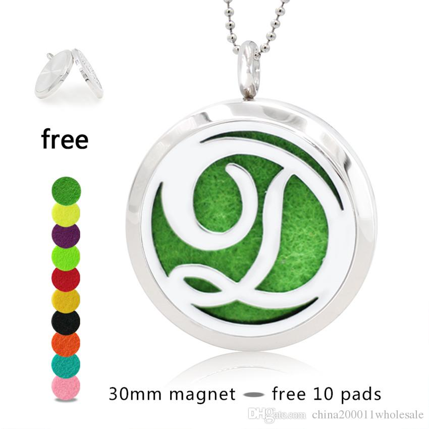 A-I 30mm Magnetic Stainless Steel Essential Oil Aromatherapy Perfume  Diffuser Locket Pendant 10pcs Pads Random(no necklace chain)