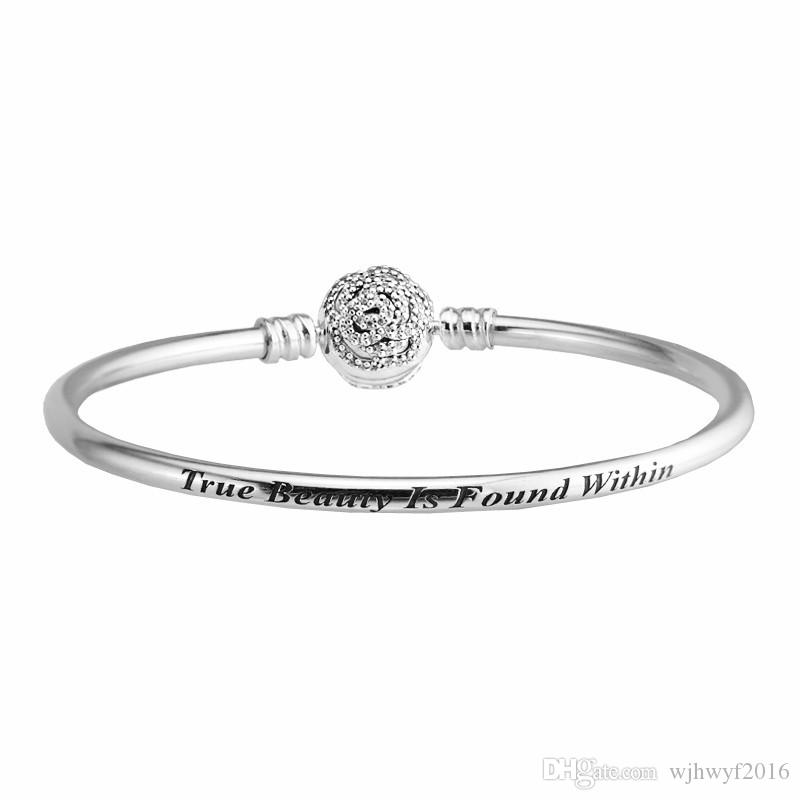 Beauty & The Beast Bangle 100% 925 Sterling Silver Jewelry Rose Clasp Clear Crystal Charm Bracelets For Women Fits European Beads Charms