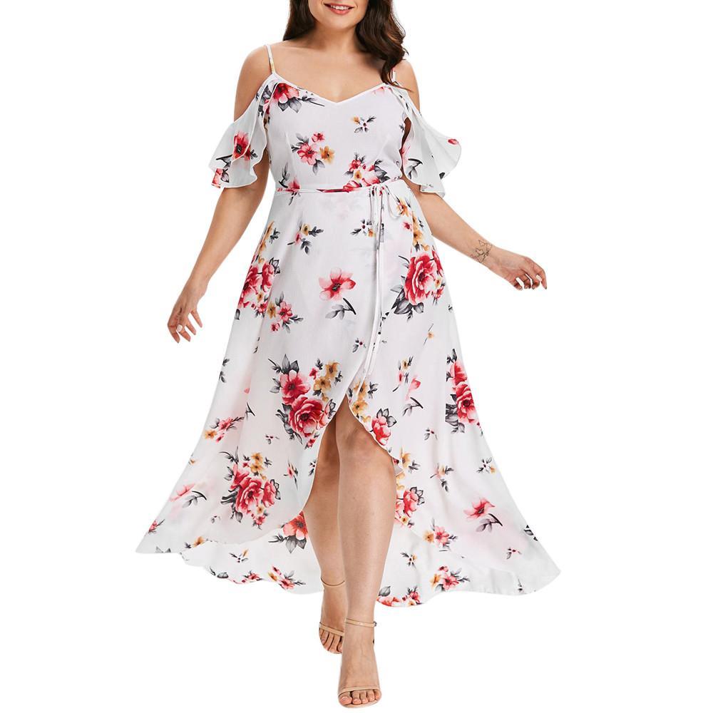 8e8c7ea59 Compre Plus Size 5XL Verão Mulheres Vestido Longo 2018 Floral Elegante  Impressão Frio Shoudler Maxi Vestidos De Praia Do Vintage Vestido Roupas  Femininas De ...