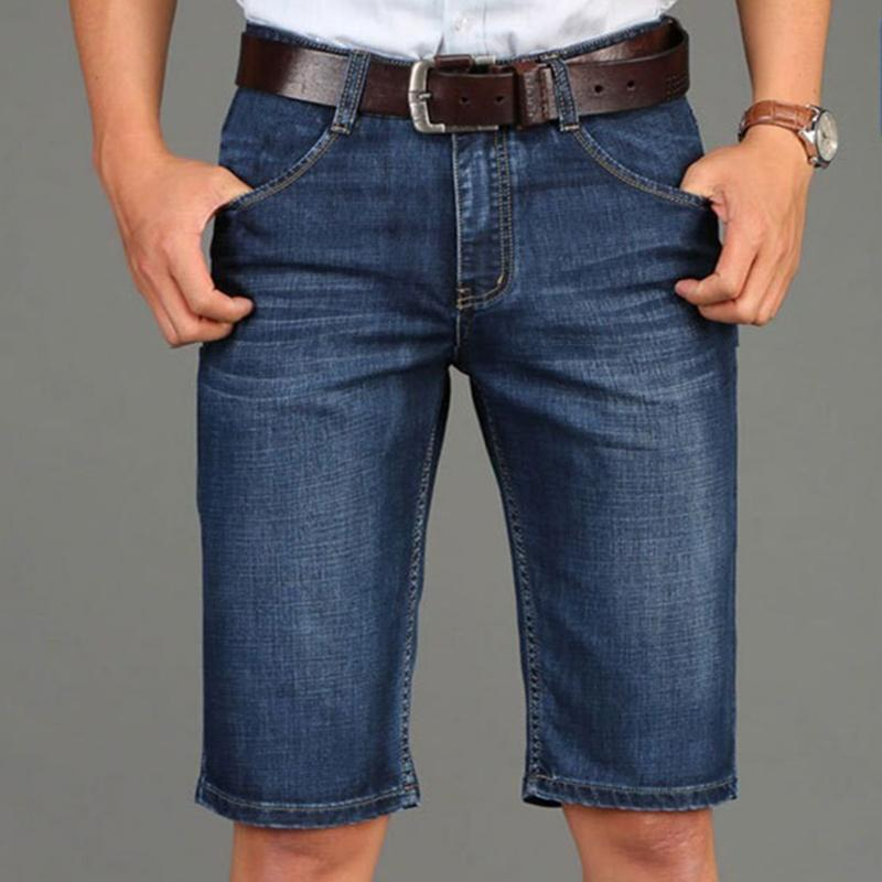 0837e5e1a52 2018 Summer New Blue Jeans Shorts Knee Length Casual Male Clothes Mid Waist  The Slim Straight Jeans Men Plus 38 From Smotthwatch, $29.45 | DHgate.Com