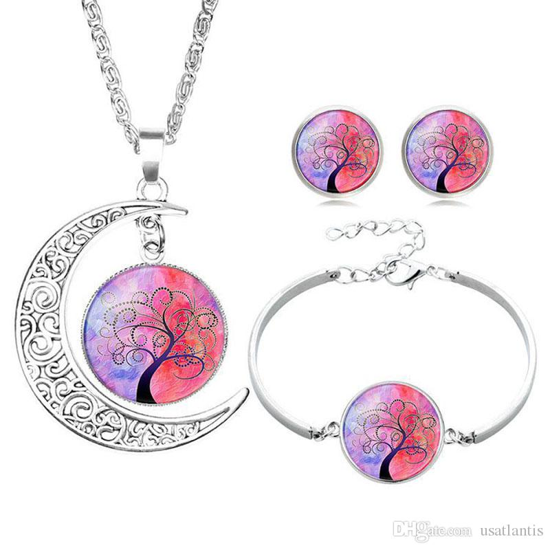 Hollow Carved Moon Life Tree Time Gem gemstone Necklace earring bracelet pendant For Women Girl Dreamlike jewelry set BY DHL 162668