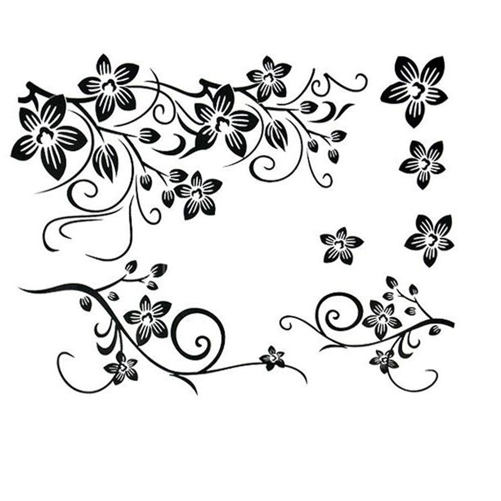 Lesuperay beautiful black flowers removable wall stickers charms vinyl wall decals for home room art decor diy wallpapers wallpapers cheap wallpapers