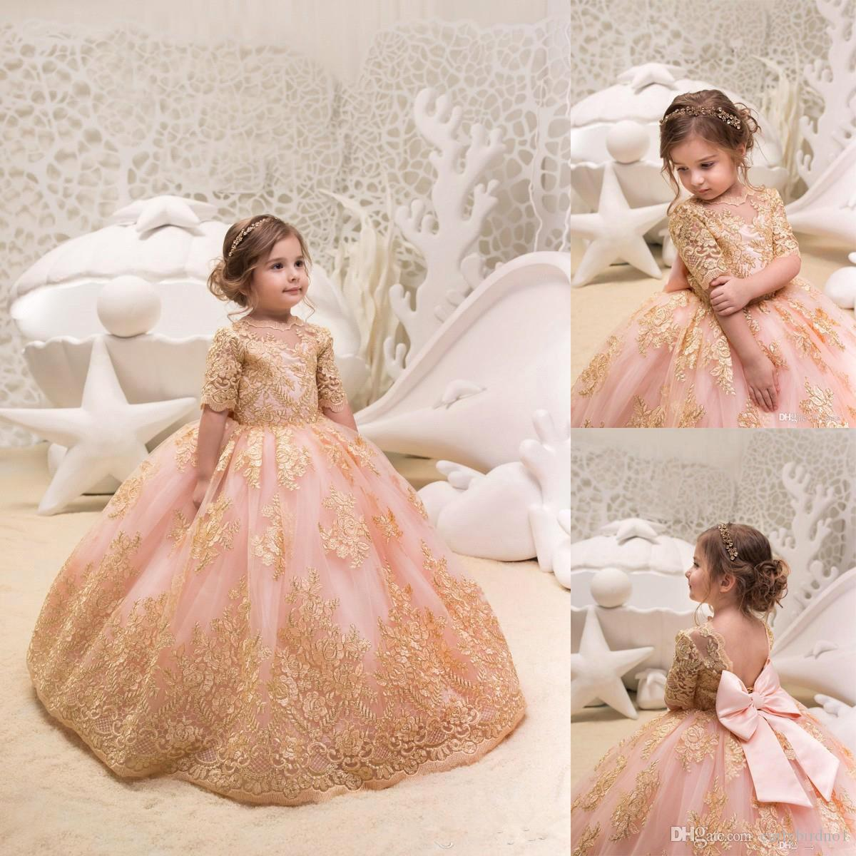 1fe746b046ea 2019 Newest Blush Pink Flower Girl Dresses with Big Bow Gold Applique Jewel  Neck Half Sleeves Girl's Pageant Party Gown BC0100
