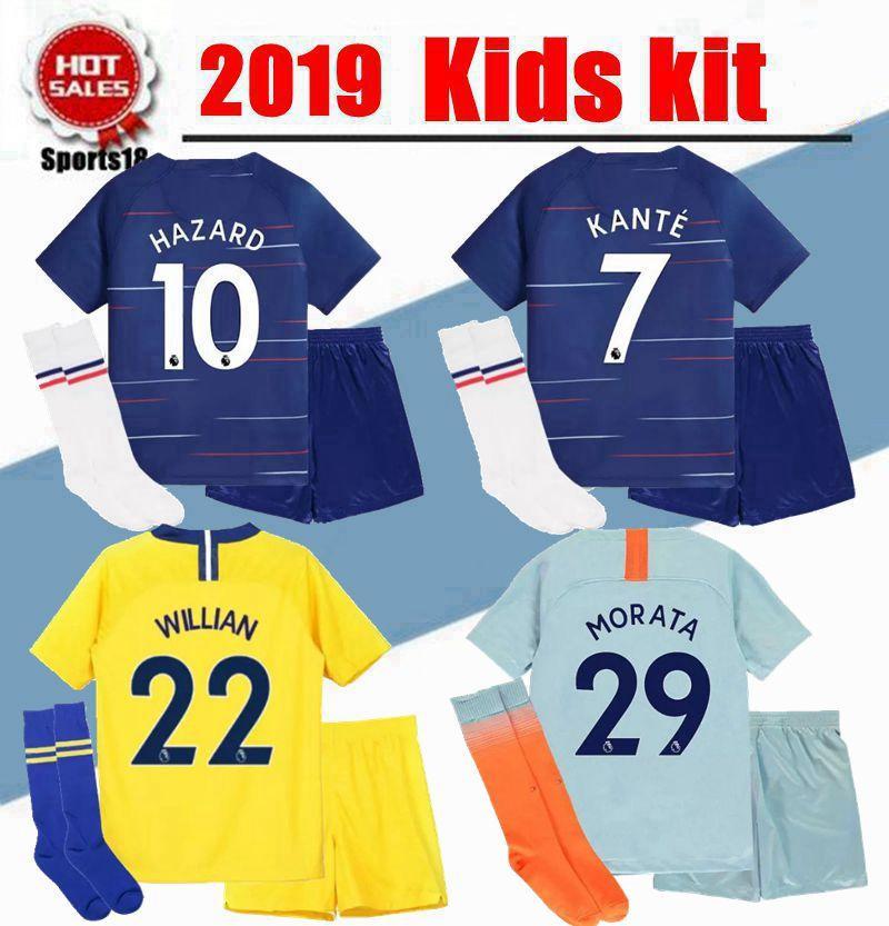3caa899f6 2019 Kids HAZARD Soccer Jersey 18 19 Youth Boy Kit HAZARD HOME KANTE ...