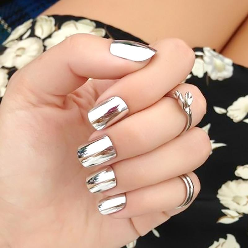 New Fake Nails Metal Silver Bride Nail Art Shiny Nail Products Patch ...
